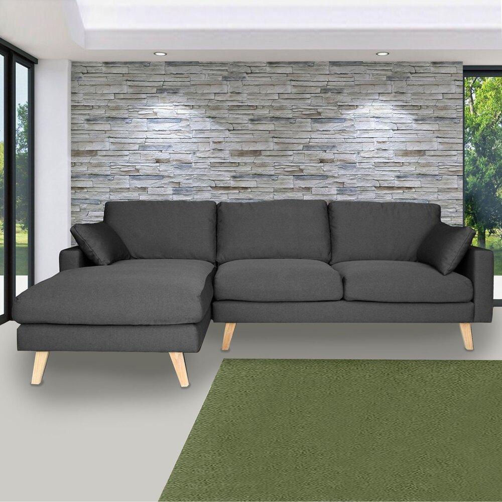 Canapé - Canapé d'angle à gauche en tissu gris - ALTA photo 1