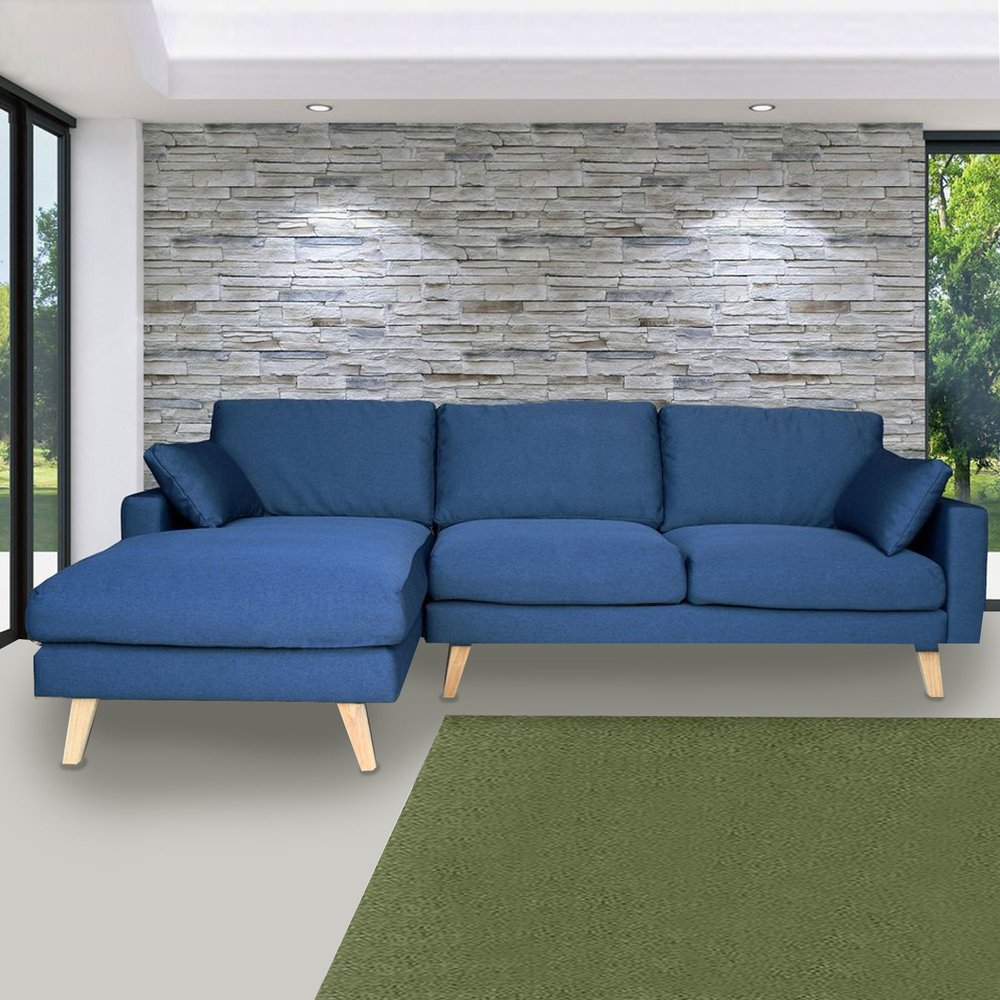 Canapé - Canapé d'angle à gauche en tissu bleu - ALTA photo 1