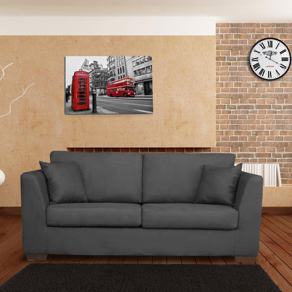 Canapé 3 places fixe anthracite - MANHATTAN | Maison et Styles