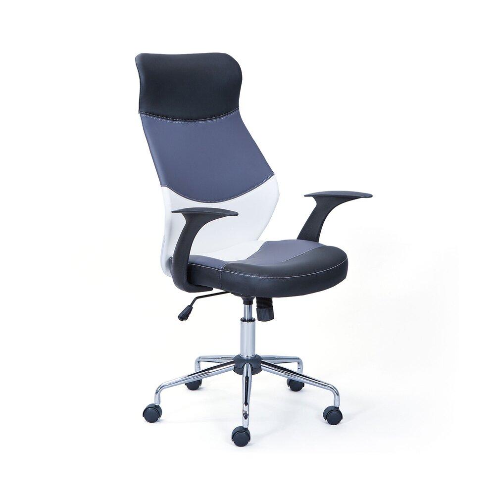 Fauteuil de bureau - Chaise de bureau 63x57x119 cm en PU noir, gris et blanc photo 1