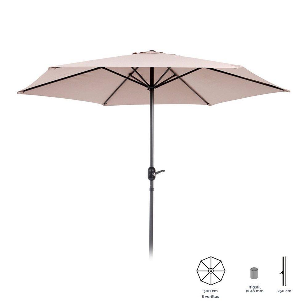 Parasol - Parasol inclinable 300 cm taupe avec pied en aluminium photo 1