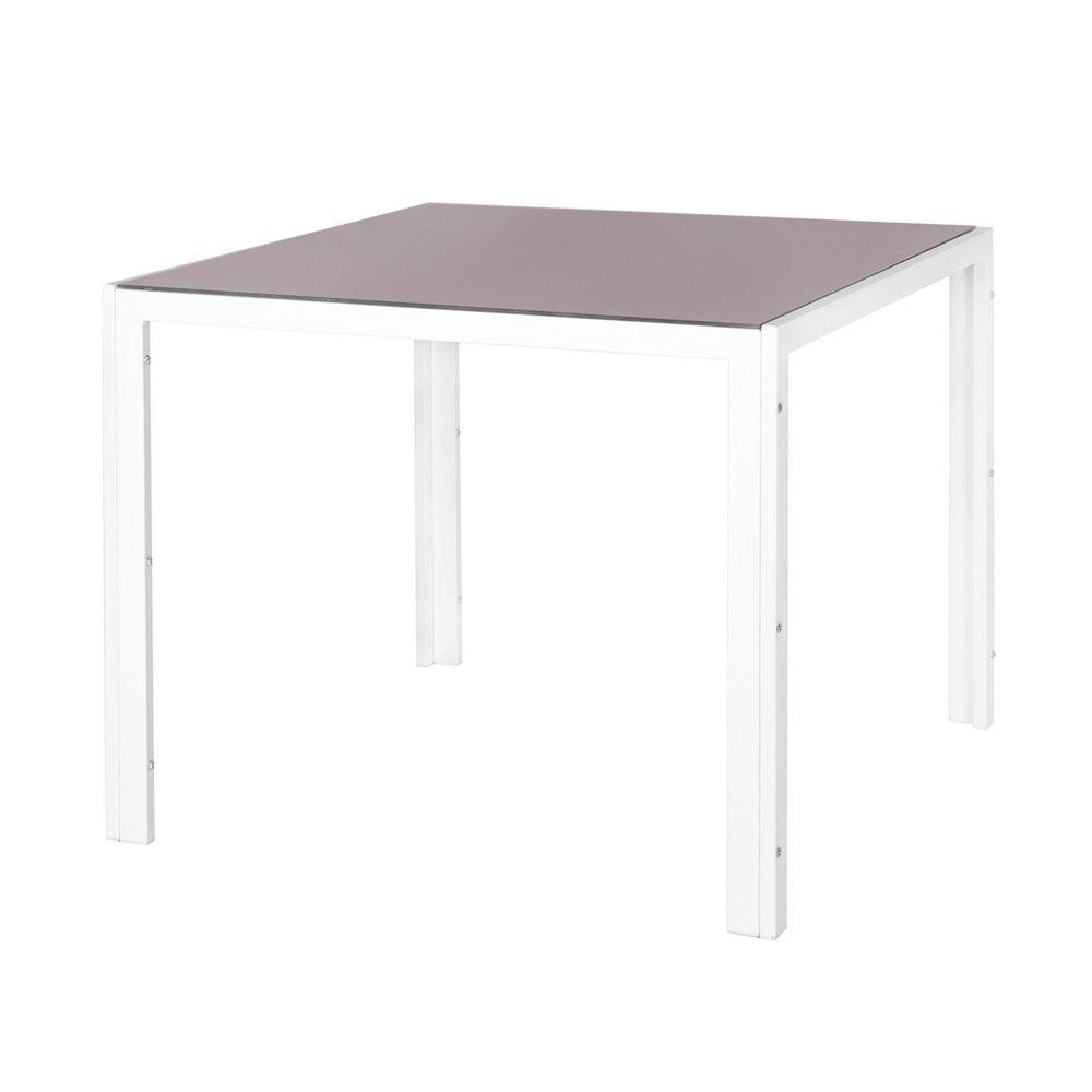 Table de jardin 90 cm en verre trempé taupe et acier blanc ...
