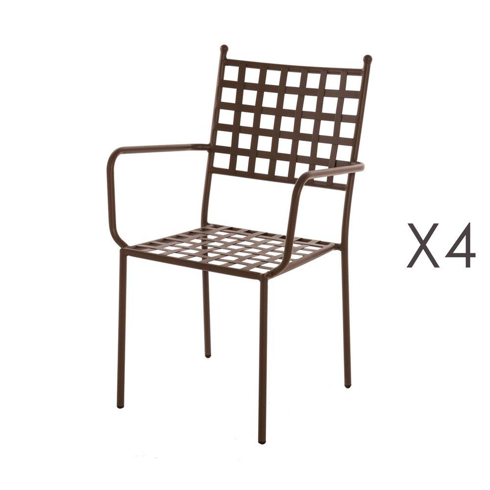 Meuble de jardin - Lot de 4 fauteuils de jardin empilables 56x55x90 cm en fer rustique photo 1
