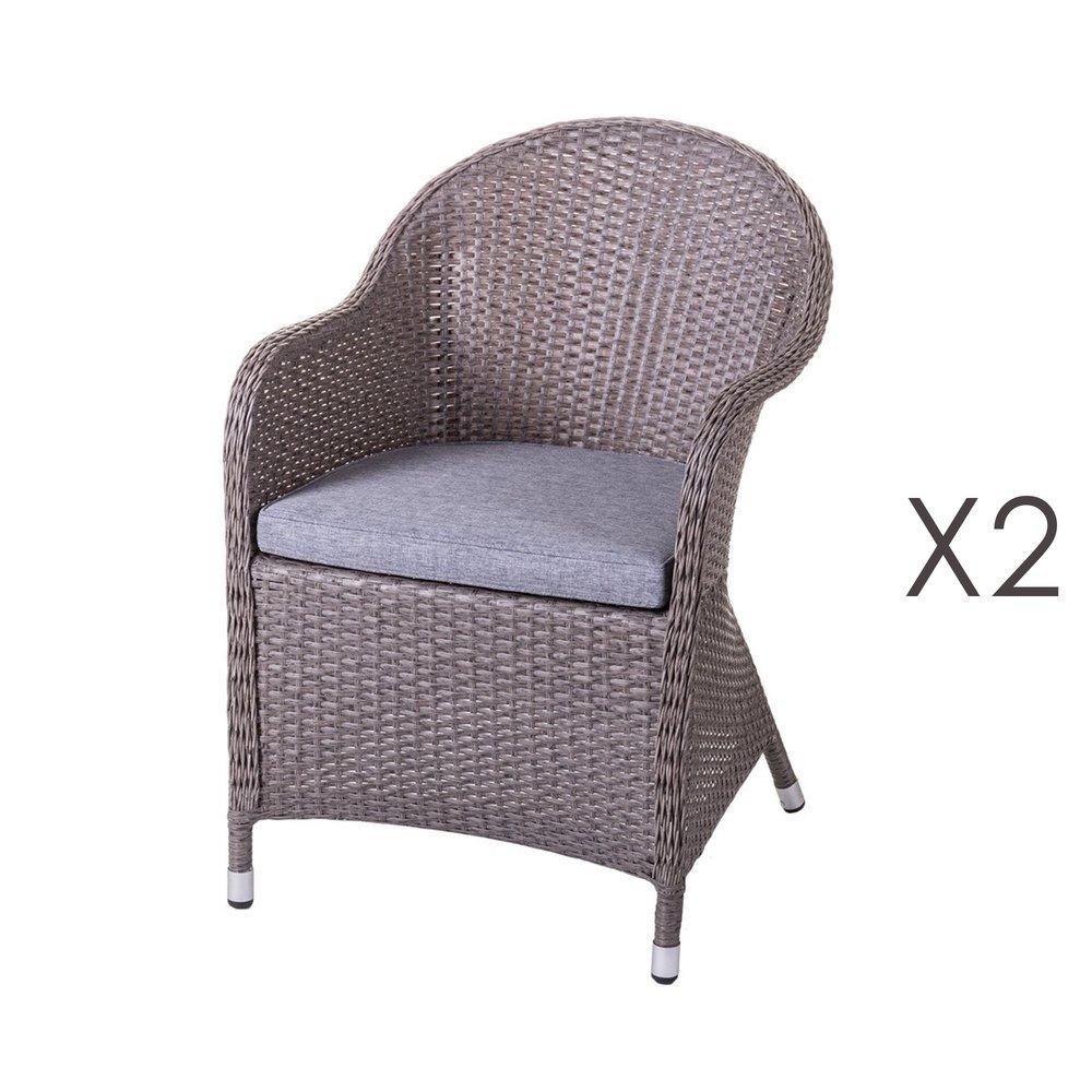 Lot de 2 fauteuils de jardin 64,5x56,5x82 cm en rotin vieilli
