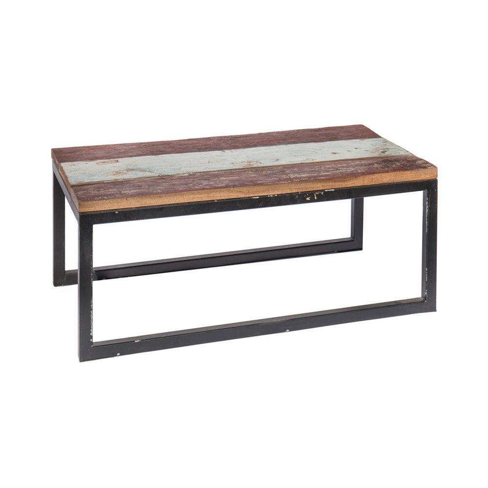 Meuble de jardin - Table basse 90 cm en teck recyclé et fer photo 1