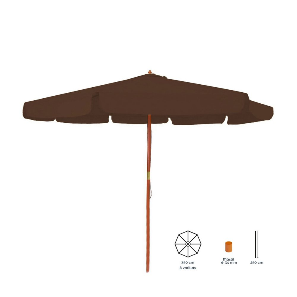 Parasol - Parasol rond 350 cm chocolat avec pied en bois photo 1