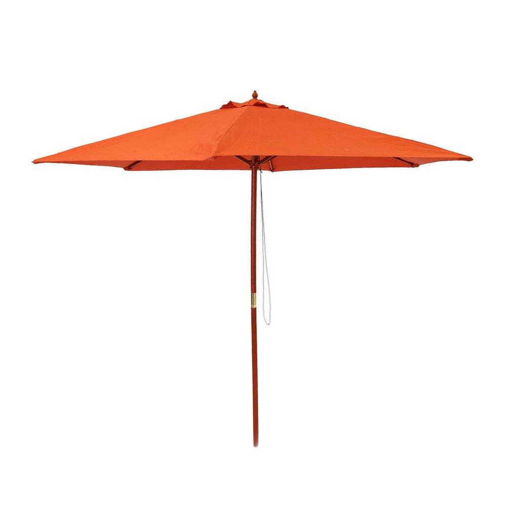 Parasol - Parasol 300x300 cm corail avec pied en bois photo 1