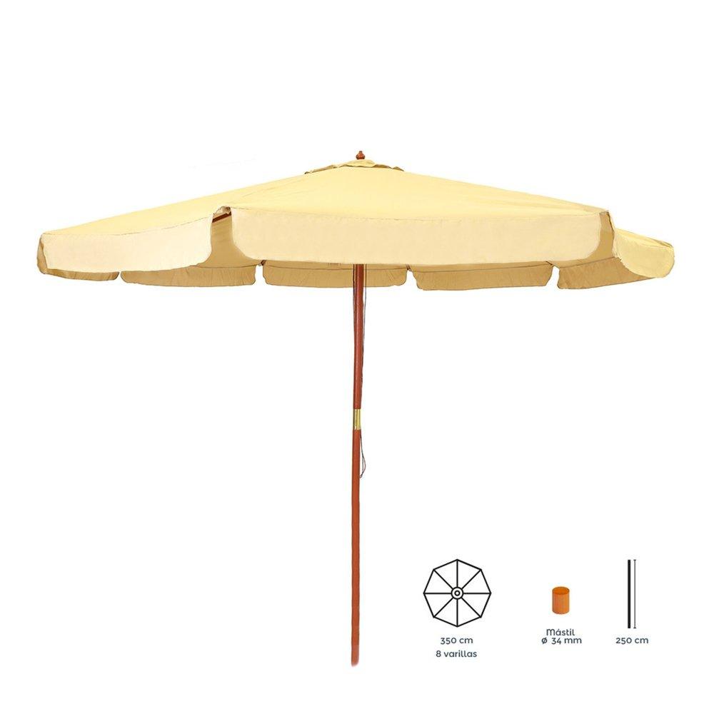 Parasol - Parasol rond 350 cm beige avec pied en bois photo 1