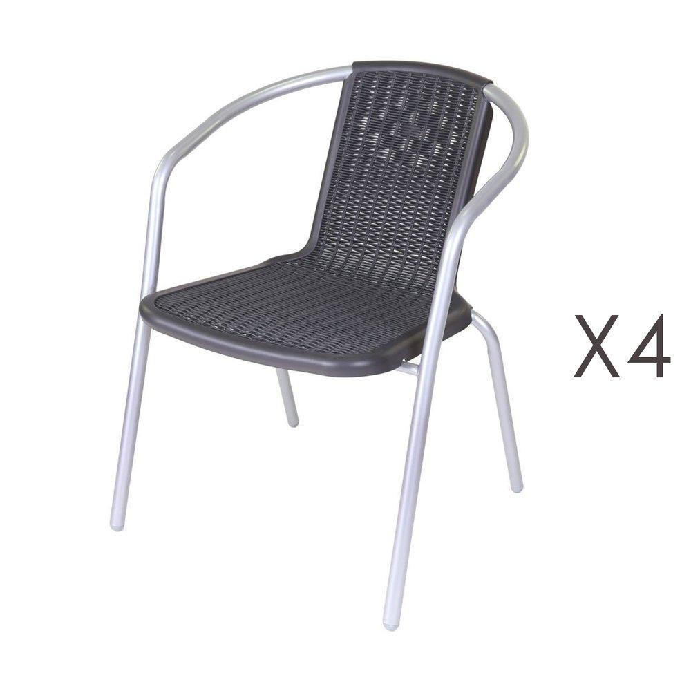 Meuble de jardin - Lot de 4 chaises de jardin en plastique noir et acier gris photo 1