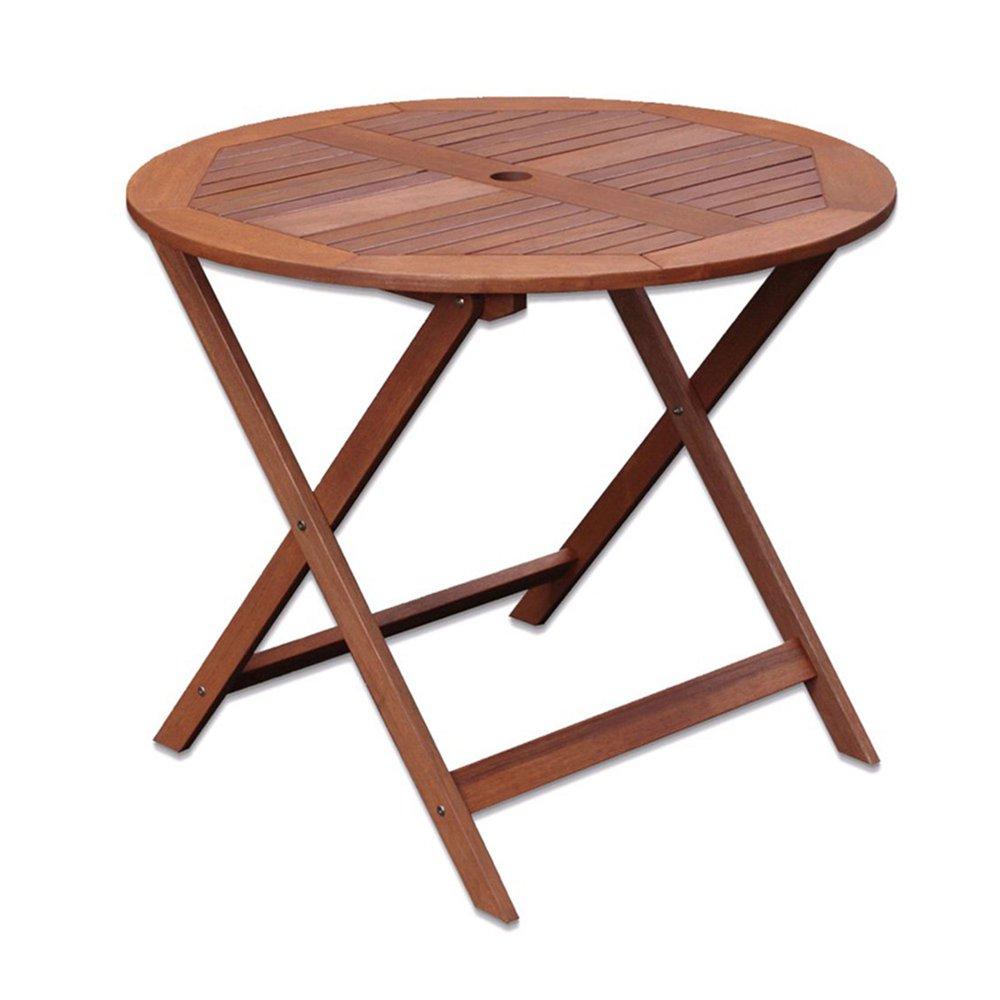 Table de jardin ronde pliable 90x90x76 cm en bois naturel ...