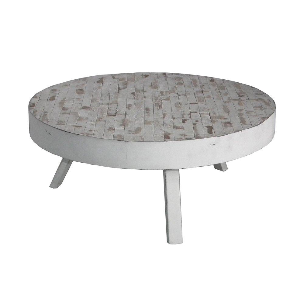 Table basse - Table basse ronde 74 cm en teck recyclé blanc - St Barth photo 1
