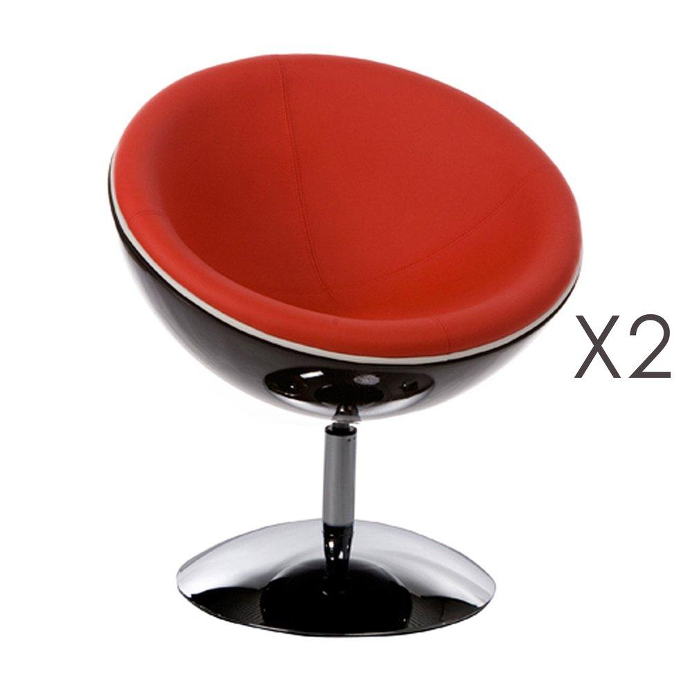 Fauteuil - Lot de 2 fauteuils design 60x70x78cm rouge - SPHEREA photo 1