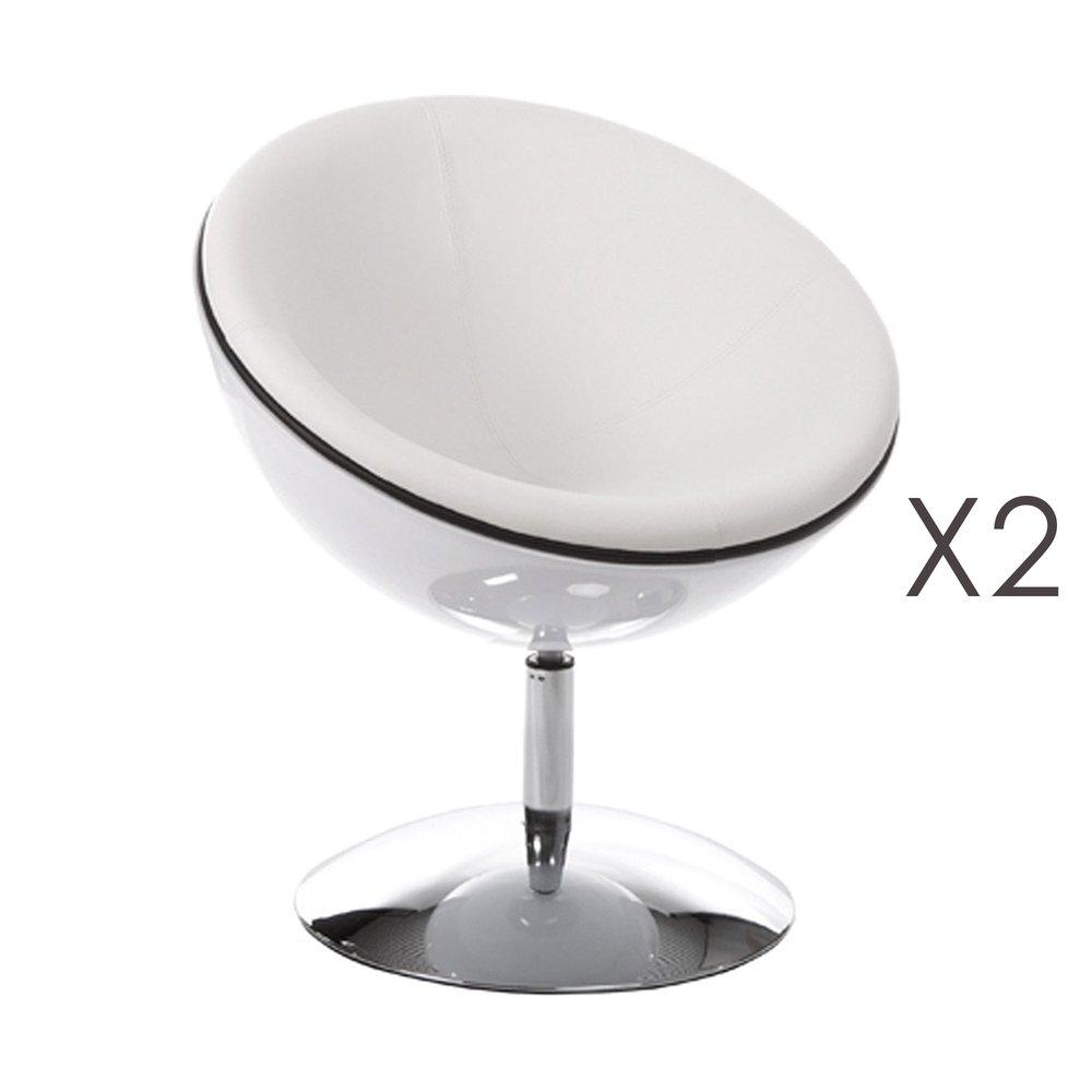 Fauteuil - Lot de 2 fauteuils design 60x70x78cm blanc/argent - SPHEREA photo 1