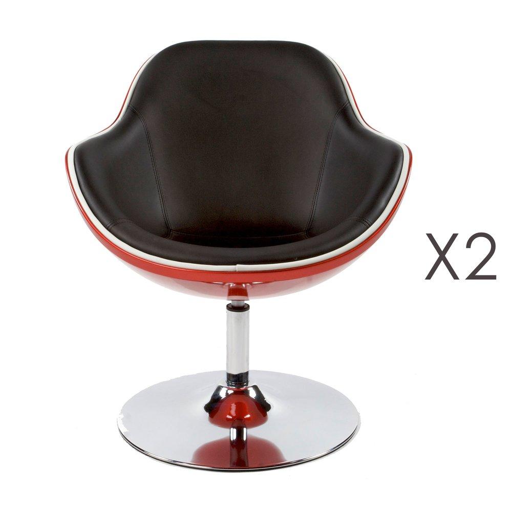 Fauteuil - Lot de 2 fauteuils design 68x68x82,5cm noir/rouge - DAYTO photo 1