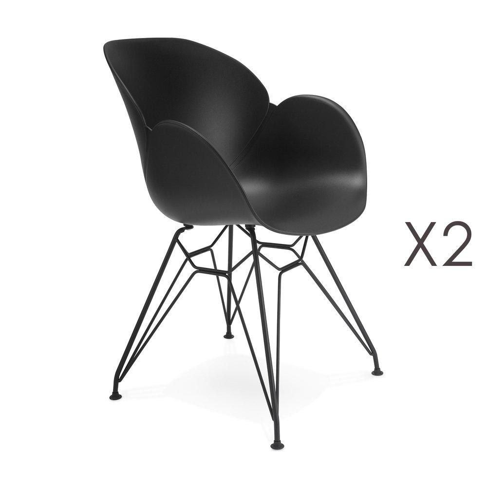 Chaise - Lot de 2 fauteuils design noir piétement métal noir- UMILA photo 1