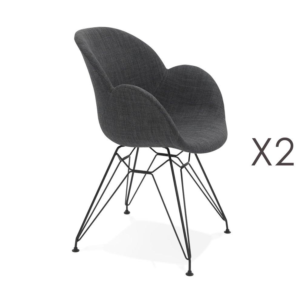 Chaise - Lot de 2 fauteuils design en tissu gris piétement métal noir- UMILA photo 1