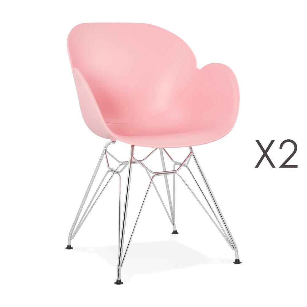 Chaise - Lot de 2 fauteuils design rose piétement métal - UMILA photo 1