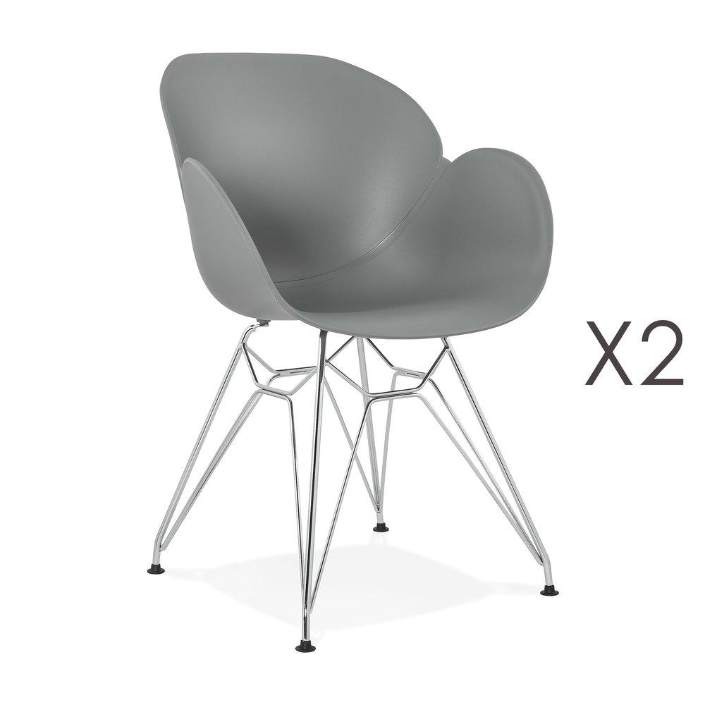Chaise - Lot de 2 fauteuils design gris piétement métal - UMILA photo 1