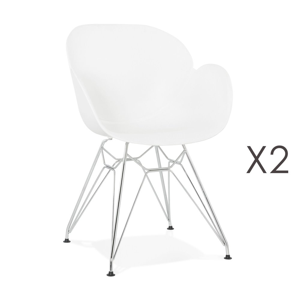 Chaise - Lot de 2 fauteuils design blanc piétement métal - UMILA photo 1