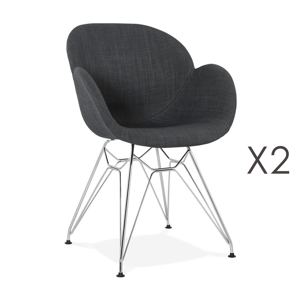 Chaise - Lot de 2 fauteuils design en tissu gris piétement métal - UMILA photo 1