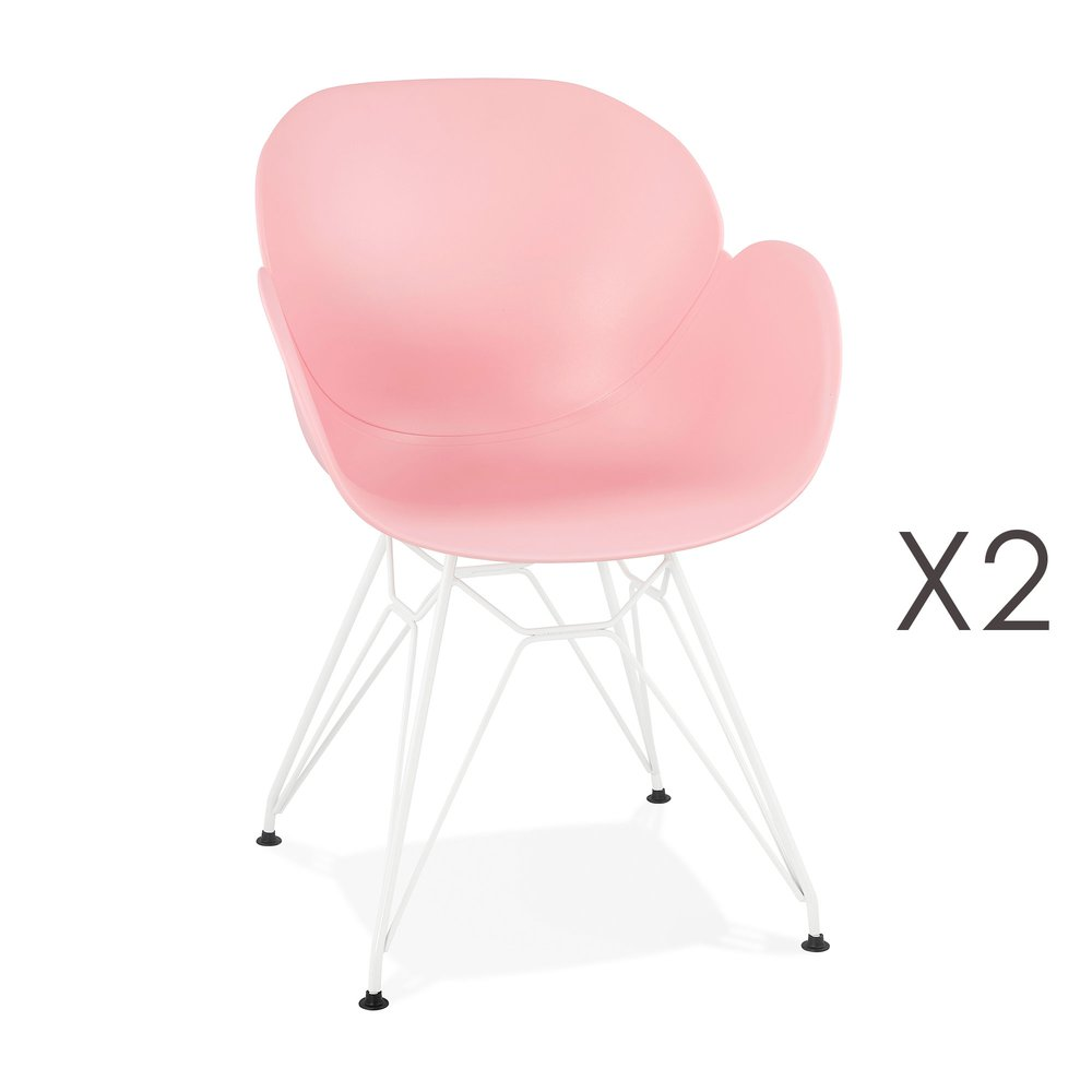 Chaise - Lot de 2 fauteuils design rose piétement métal blanc - UMILA photo 1