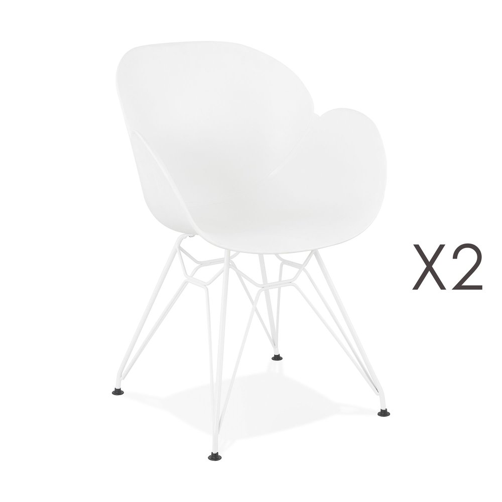 Chaise - Lot de 2 fauteuils design blanc piétement métal blanc - UMILA photo 1