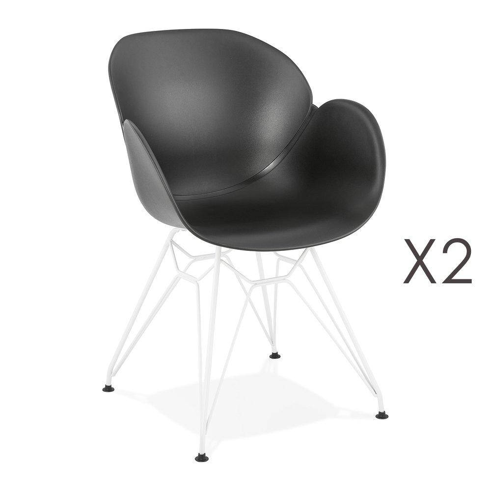 Chaise - Lot de 2 fauteuils design noir piétement métal blanc - UMILA photo 1