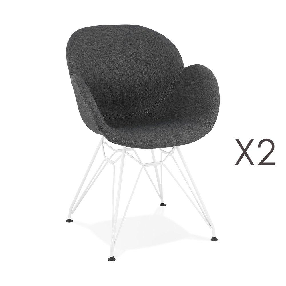 Chaise - Lot de 2 fauteuils design en tissu gris piétement métal blanc - UMILA photo 1