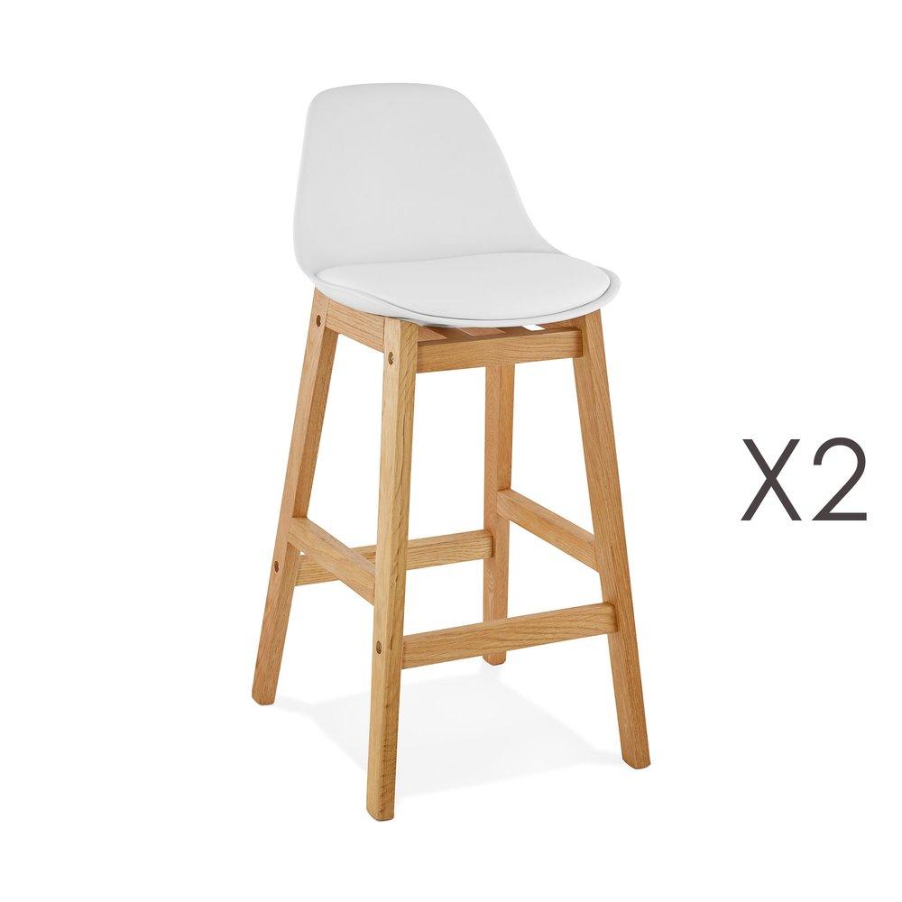 Tabouret de bar - Lot de 2 chaises de bar design 38x86x43 cm blanc - ELO photo 1