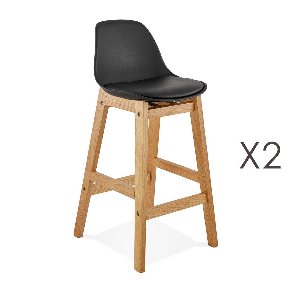 Tabouret de bar - Lot de 2 chaises de bar design 38x86x43 cm noir - ELO photo 1