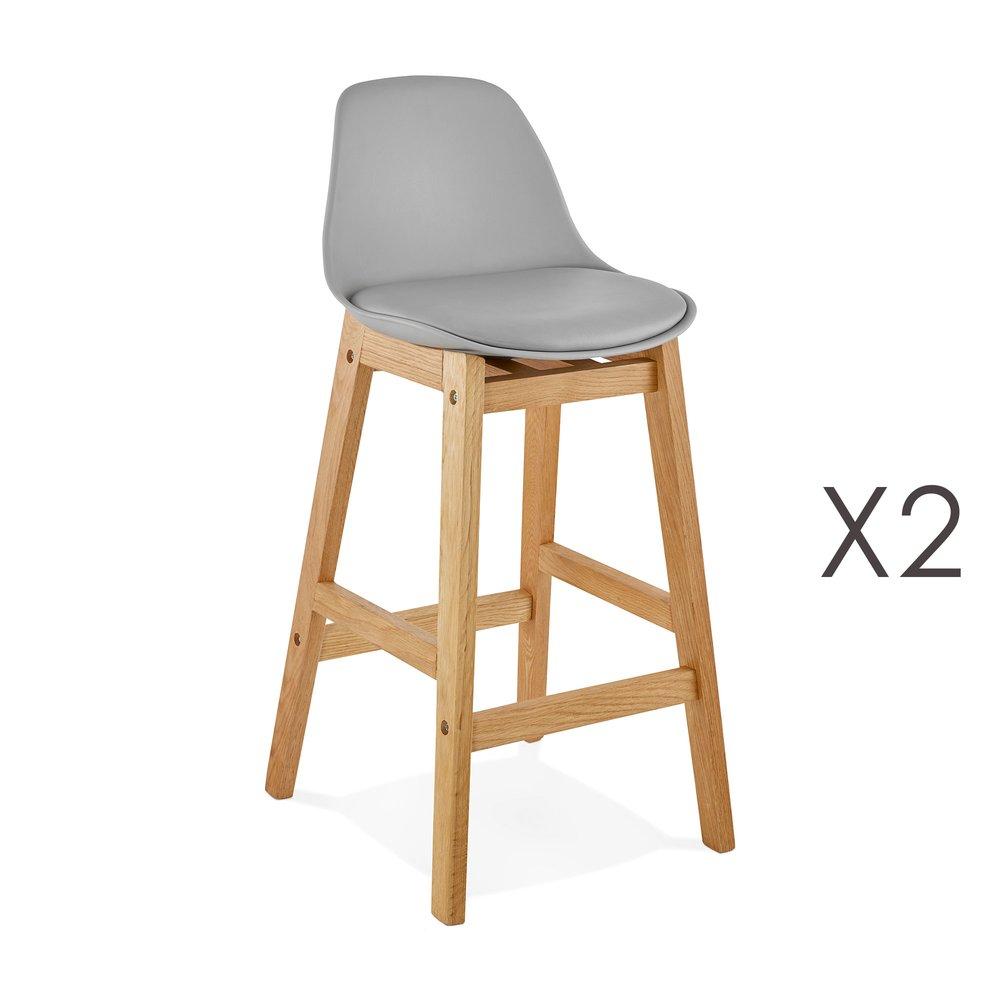 Tabouret de bar - Lot de 2 chaises de bar design 38x86x43 cm gris - ELO photo 1