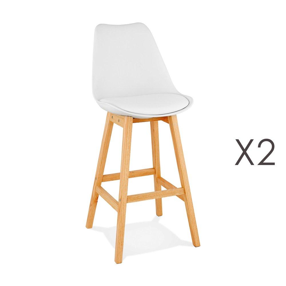 Tabouret de bar - Lot de 2 chaises de bar design 48x112x56 cm blanc - ELO photo 1
