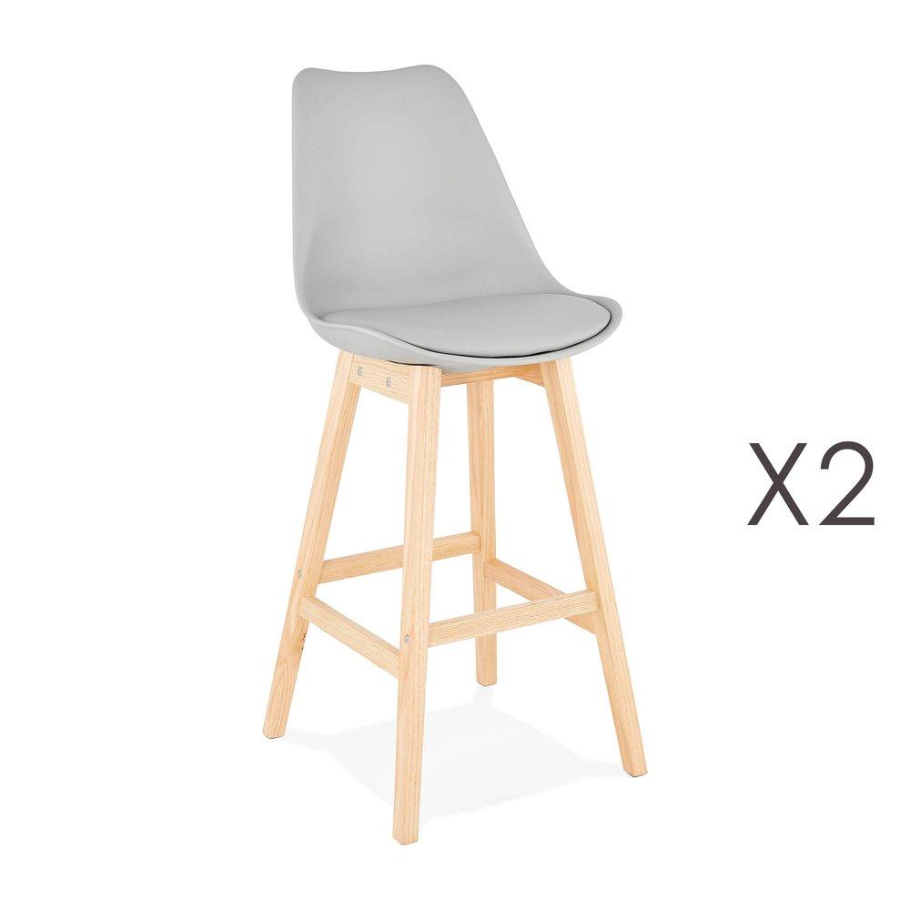 Tabouret de bar - Lot de 2 chaises de bar design 48x112x56 cm gris - ELO photo 1