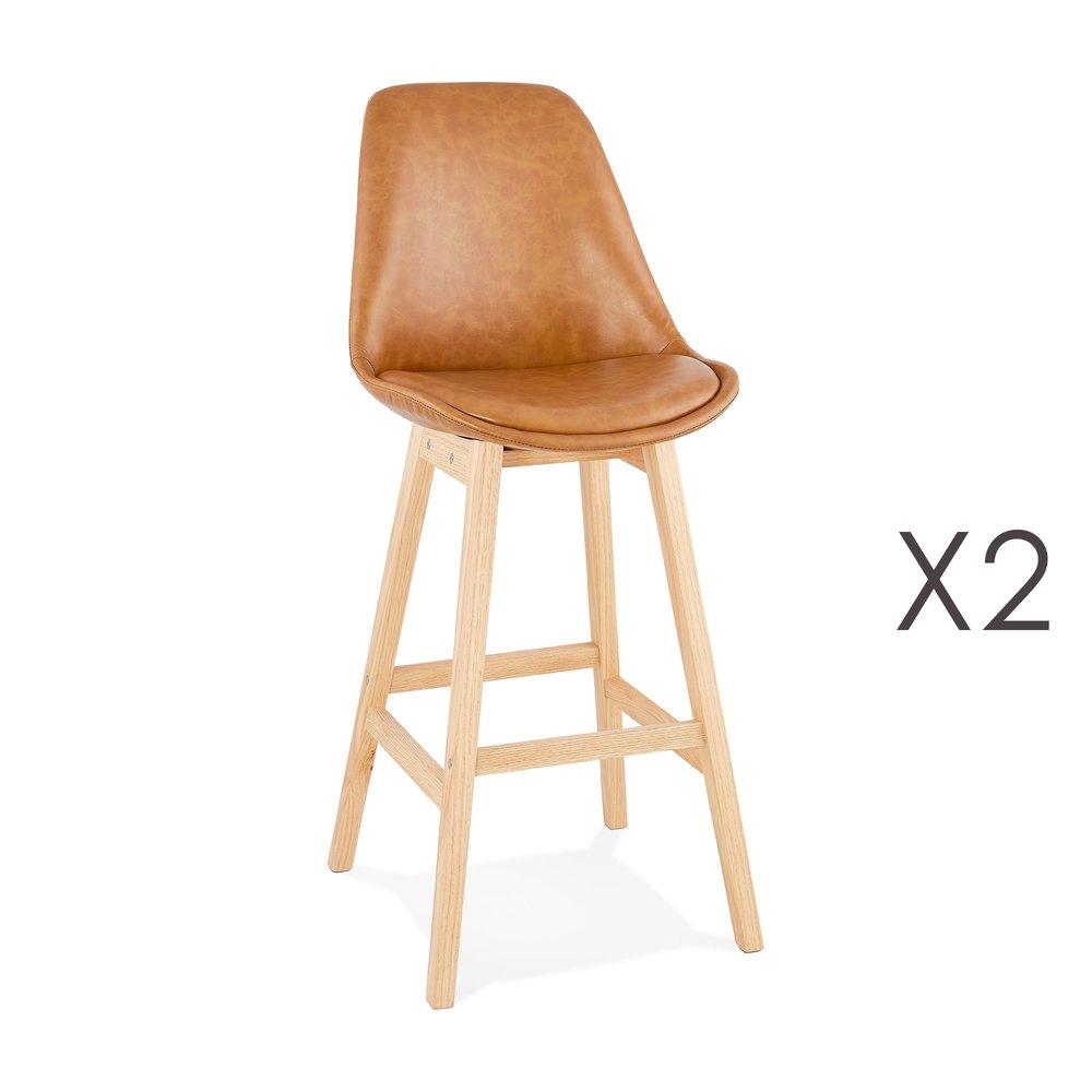 Tabouret de bar - Lot de 2 chaises de bar design 48x112x56 cm marron - ELO photo 1
