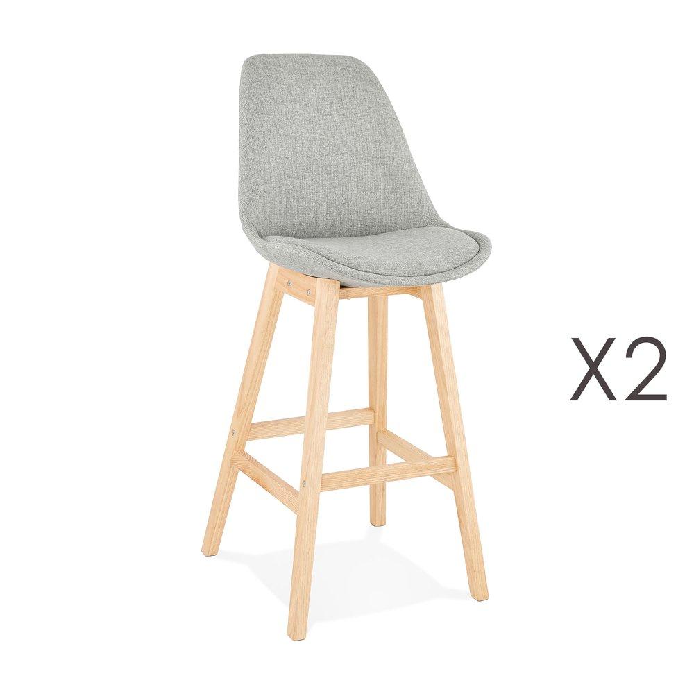 Tabouret de bar - Lot de 2 chaises de bar design 48x112x56 cm tissu gris - ELO photo 1