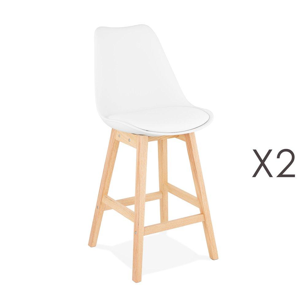 Tabouret de bar - Lot de 2 chaises de bar design 48x102x56 cm blanc - ELO photo 1