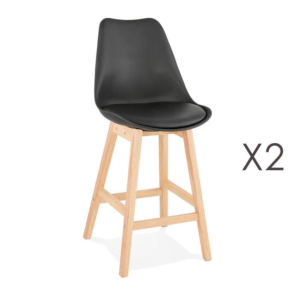 Tabouret de bar - Lot de 2 chaises de bar design 48x102x56 cm noir - ELO photo 1