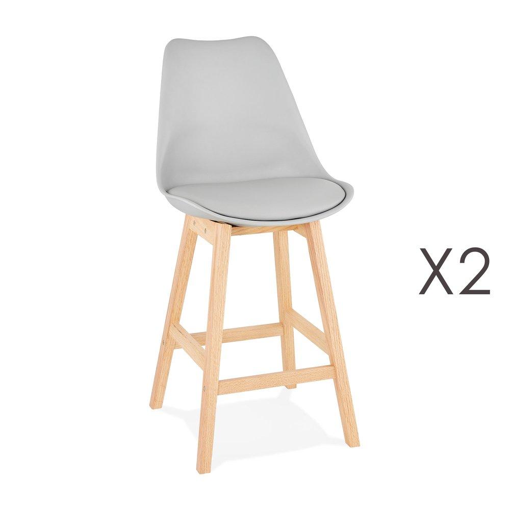 Tabouret de bar - Lot de 2 chaises de bar design 48x102x56 cm gris - ELO photo 1