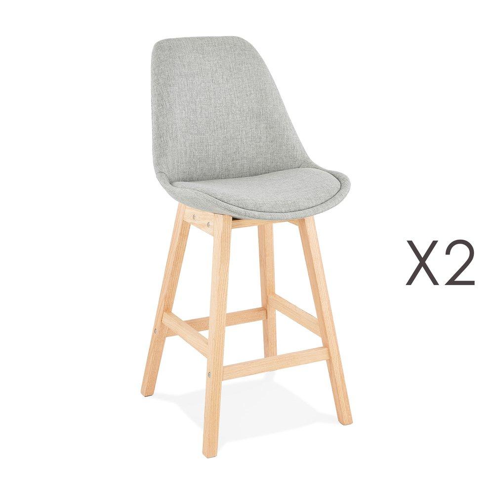 Tabouret de bar - Lot de 2 chaises de bar design 48x102x56 cm tissu gris - ELO photo 1