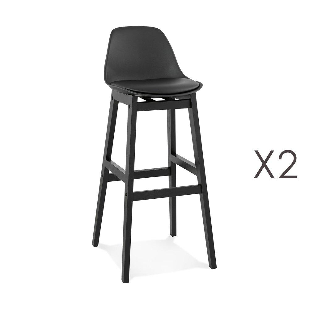 Tabouret de bar - Lot de 2 chaises de bar 42x48x102 cm noir et pieds noir - ELO photo 1