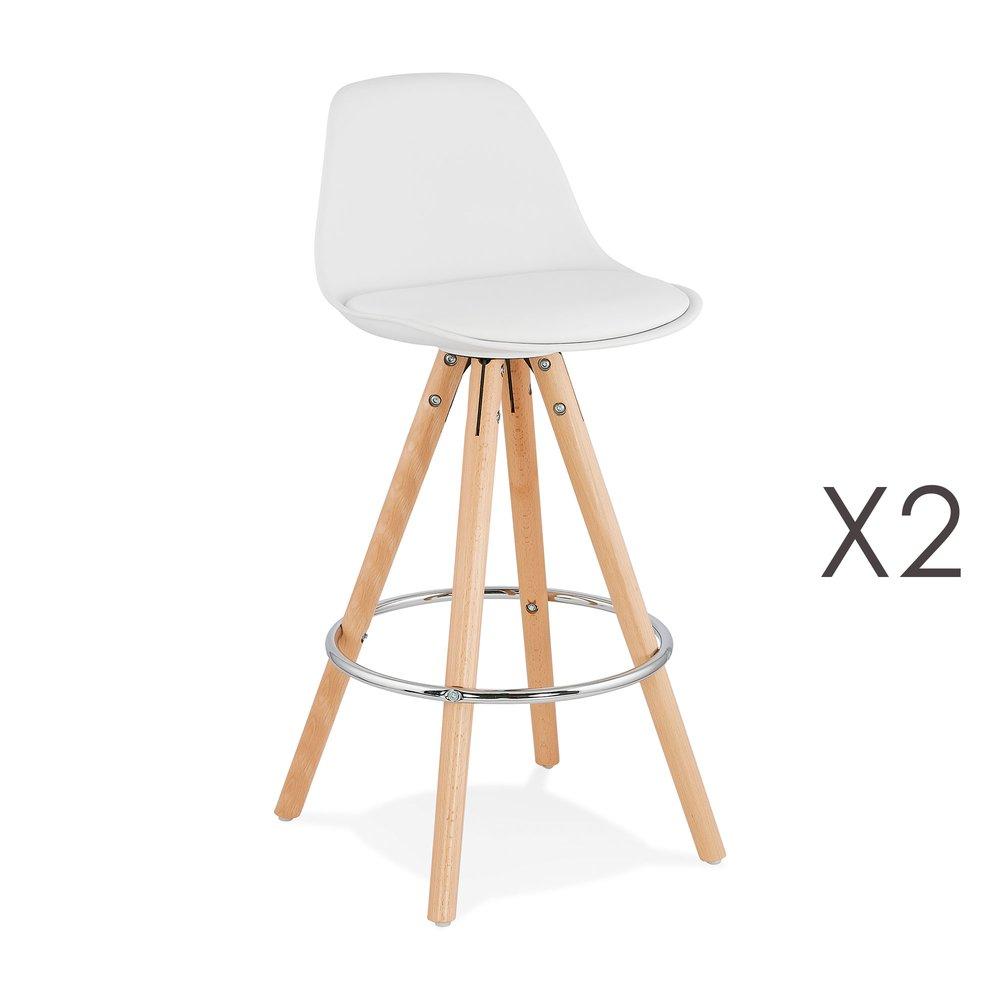 Tabouret de bar - Lot de 2 chaises de bar blanc - LUCIE photo 1