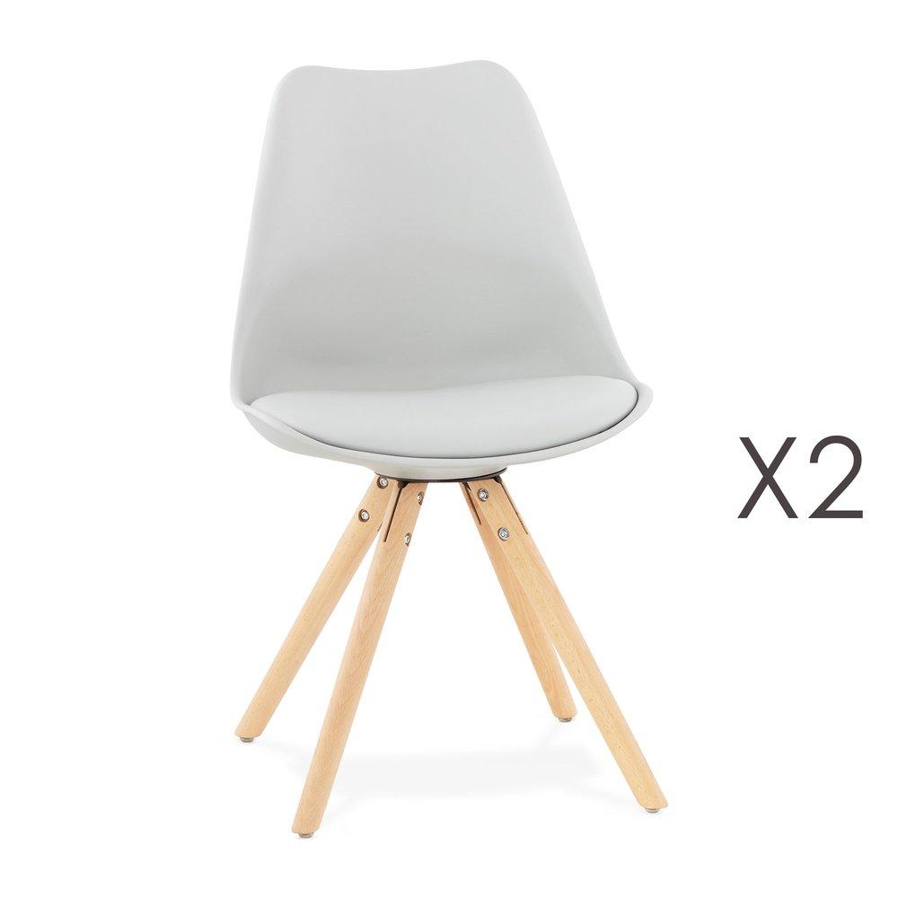 Chaise - Lot de 2 chaises coins arrondis gris clair - LUCIE photo 1