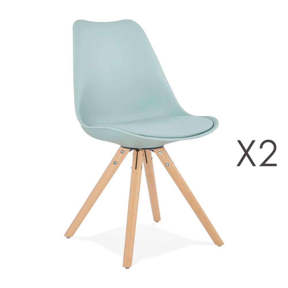 Chaise - Lot de 2 chaises coins arrondis bleu clair - LUCIE photo 1