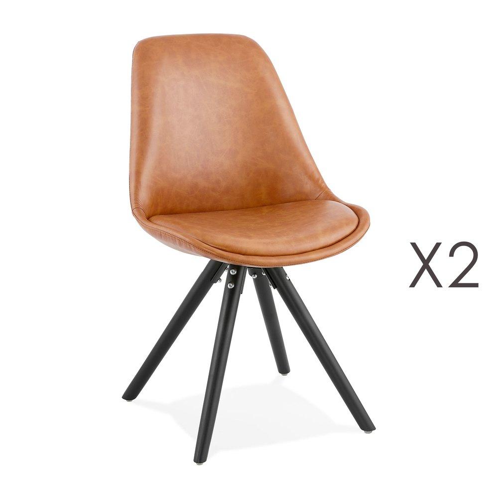 Chaise - Lot de 2 chaises coins arrondis marron et pieds noir - LUCIE photo 1