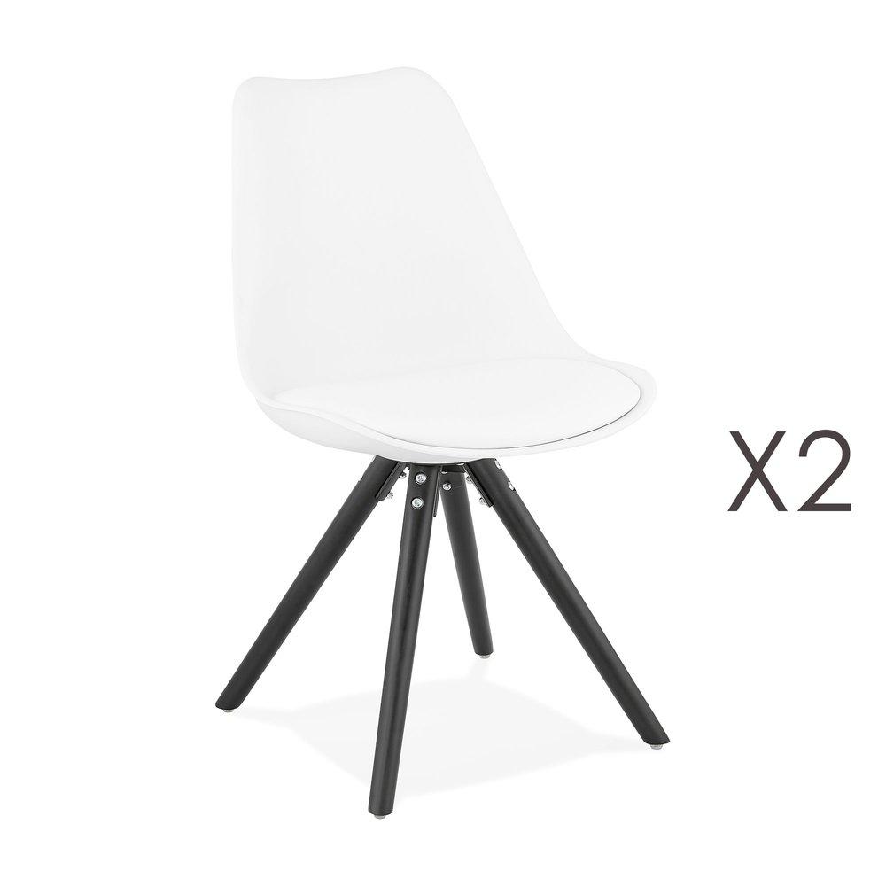 Chaise - Lot de 2 chaises coins arrondis blanc et pieds noir - LUCIE photo 1