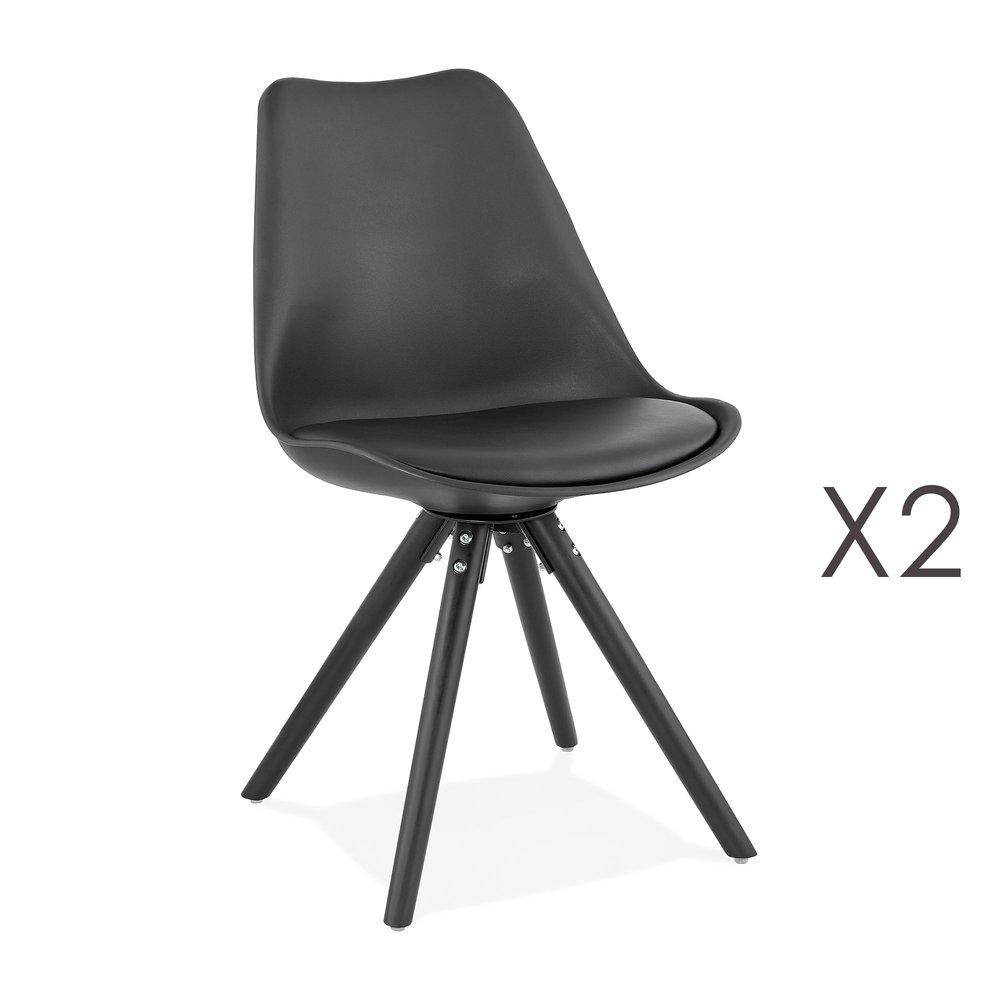 Chaise - Lot de 2 chaises coins arrondis noir et pieds noir - LUCIE photo 1