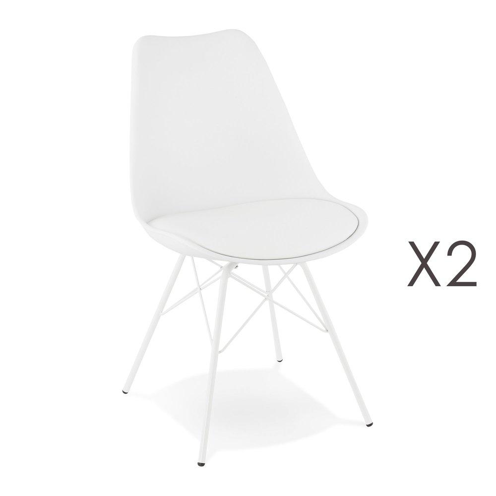 Chaise - Lot de 2 chaises repas coins arrondis en PU et métal blanc - LUCIE photo 1