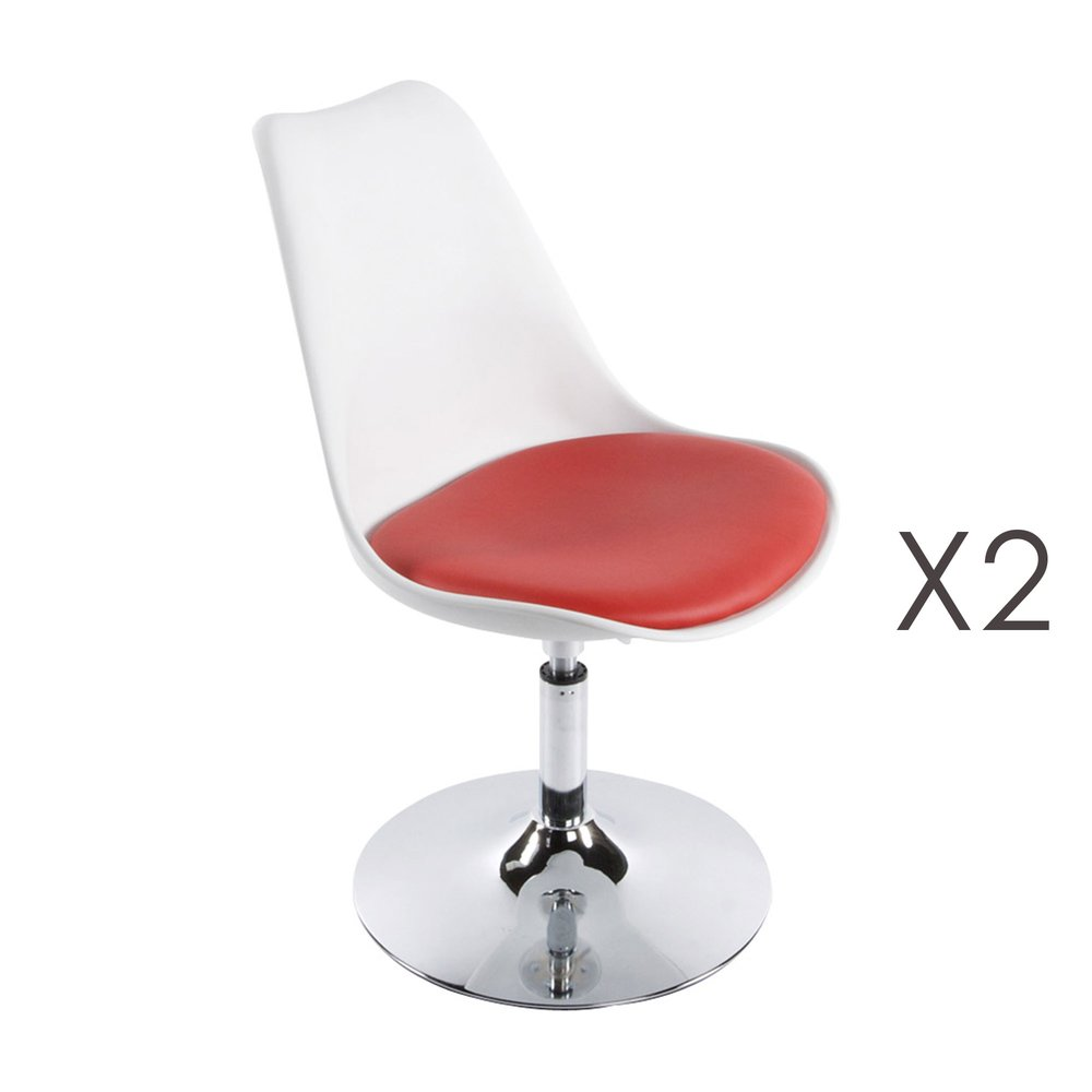 Chaise - Lot de 2 chaise design 48x54x85 cm blanc et rouge - VIC photo 1