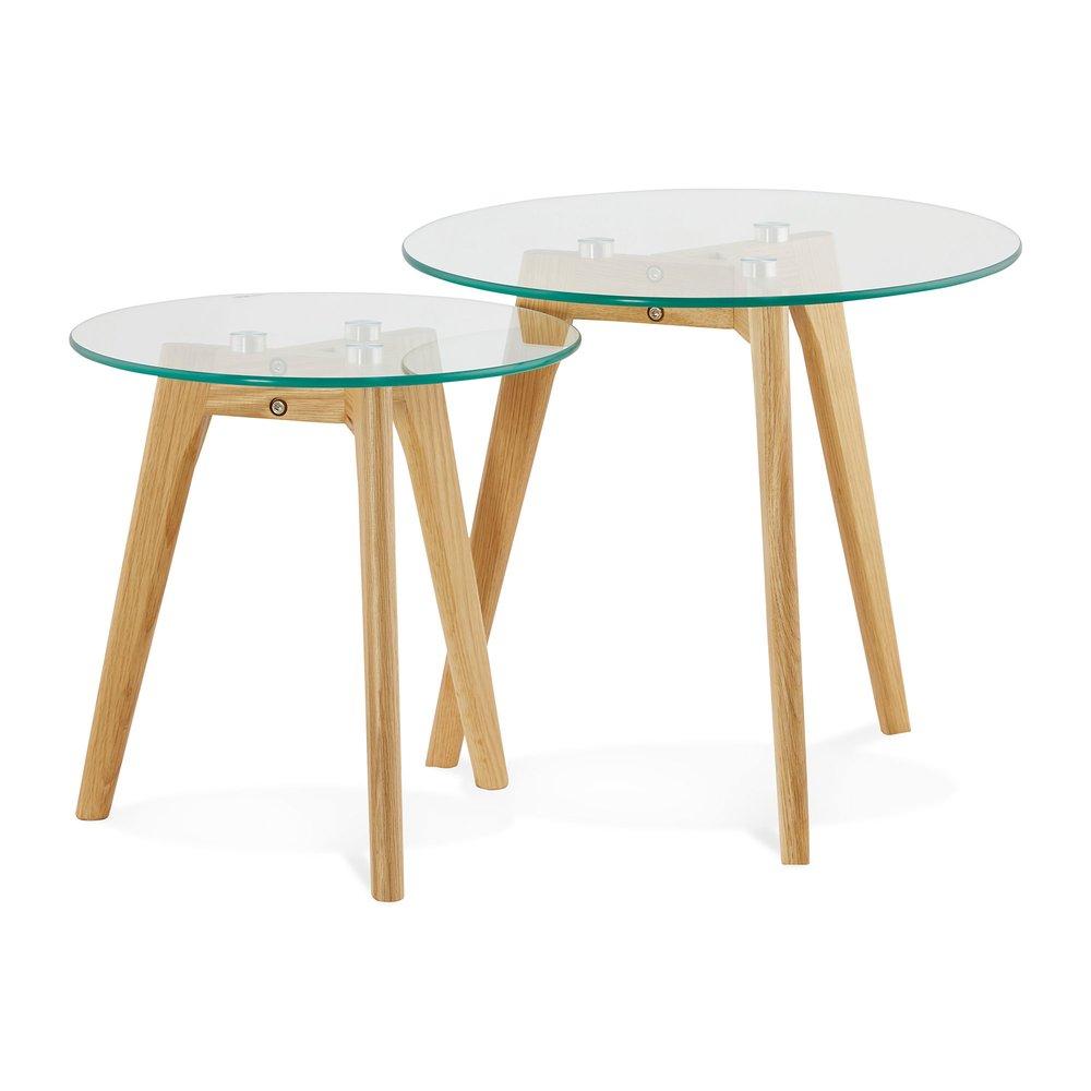 Table basse - Lot de 2 tables gigognes rondes en verre et bois naturel - BALTIC photo 1