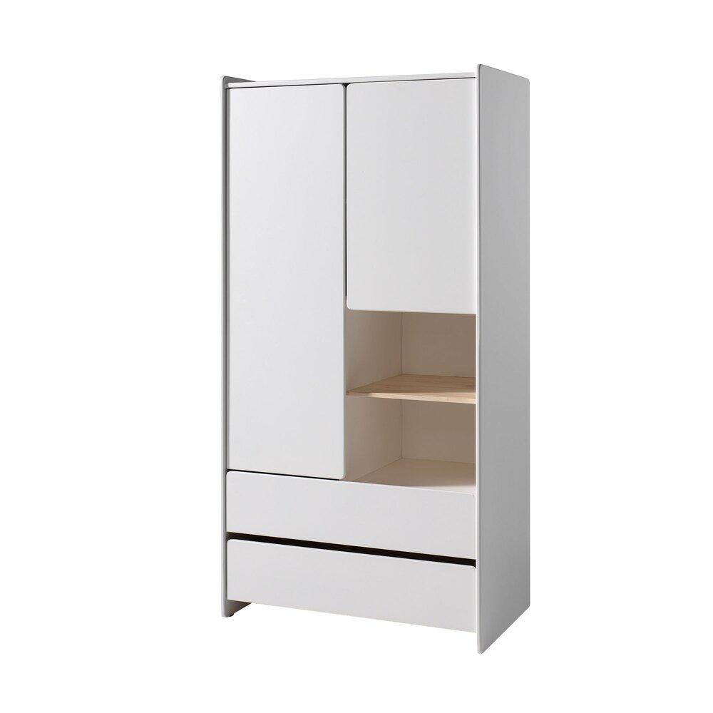 Armoire - Armoire 2 portes et 2 tiroirs 90x55x180 cm en pin blanc - KIDLY photo 1